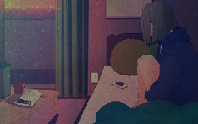 Picture sadness, girl, loneliness, table, room, window, mug, bed, curtains, phone, waiting, art, Asakurazeze