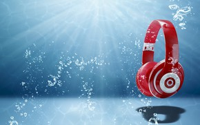 Picture light, headphones, art, abstraction, range, wallpaper., sound, radio wave, music, headphones water
