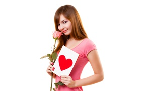 Picture look, girl, smile, sweetheart, rose, white background, Valentine's day, postcard, gentle