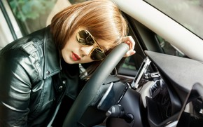 Picture machine, auto, face, style, model, BMW, the wheel, glasses, jacket, Asian