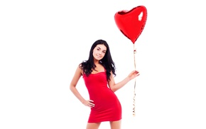 Wallpaper heart, posing, keeps, figure, hairstyle, makeup, brunette, white background, a balloon, girl, in red, dress, ...