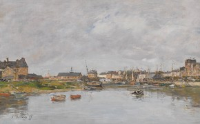 Wallpaper Eugene Boudin, picture, Eugene Boudin, the urban landscape, home, The Port Of Trouville, harbour