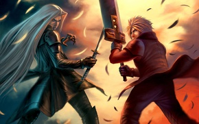 Picture the game, anime, art, guys, two, Final Fantasy VII
