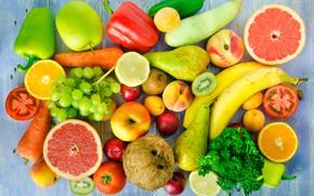 Picture lemon, apples, coconut, kiwi, cucumber, grapes, bananas, pear, pepper, fruit, vegetables, peaches, plum, tomatoes, carrots, …