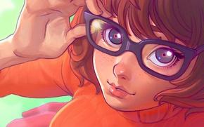 Picture girl, face, glasses, art, Scooby-Doo, Velma Dinkley, velma