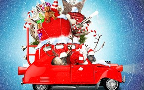 Picture snow, snowflakes, red, creative, background, holiday, toys, photoshop, Christmas, gifts, New year, lollipops, car, deer, …