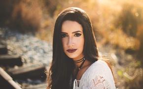 Picture look, portrait, makeup, brunette, lips