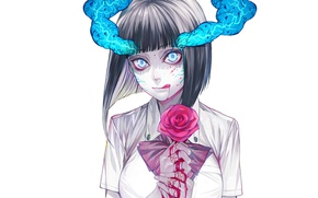Picture rose, the demon, spot, madness, art, undead, bloody tears, plasma, evaporation, youkai, obsessed, Yokuoni