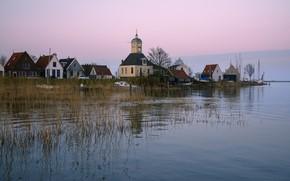 Wallpaper river, shore, home, boats, Church, Netherlands, Durgerdam