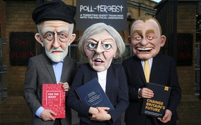Picture policy, elections, cartoon, Theresa May, Jeremy Corbyn, The Prime Minister of great Britain, Tim Farron, ...