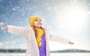 Picture winter, light, snow, joy, hat, child, hands, scarf, jacket, girl, Winter, little, snow, Little girls