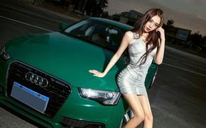 Picture look, Audi, Girls, dress, Asian, beautiful girl, green car
