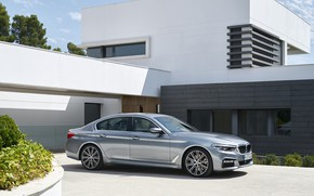 Picture the sky, house, grey, vegetation, BMW, Parking, sedan, flowerbed, 540i, 5, M Sport, four-door, 2017, …