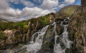 Picture nature, stream, stones, rocks, waterfall, Wales, Snowdonia