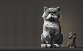 Wallpaper Anton Osipkov, art, Rat and Cat, rat, the situation, Rendering, cat