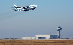 Wallpaper the plane, takes off, An-124, transport, heavy, far, Antonov