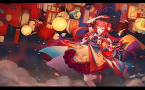 Picture the sky, fish, dance, fan, lights, red, kimono, priestess, art, cock, Srii I