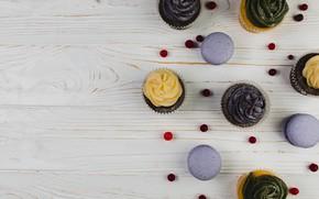 Picture dessert, wood, cupcakes, macaroons, Sweet, muffins, Dessert, Cream