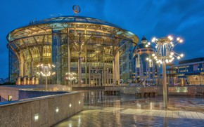 Picture the building, lights, Moscow, Russia, Moscow international house of music