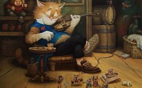 Picture cat, violin, figure, tale, art, children's, Tales of the cat Kuzma, Alexander Maskaev, evening