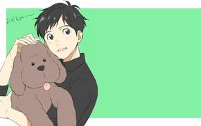 Picture dog, anime, art, guy, poodle, dog, Yuri on Ice, Yuri on the ice, Yuri Katsuki