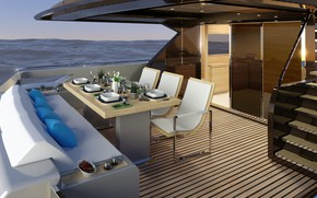 Picture chairs, yacht, deck, servirovka, Bateau