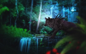 Picture forest, nature, wolf, fantasy, by Fiirewolf