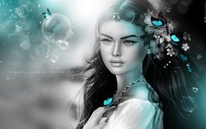 Picture girl, butterfly, flowers, mood, hair, mole