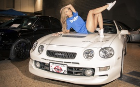Picture Girls, Toyota, beautiful girl, white car, on the hood
