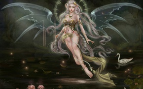 Picture girl, fantasy, wings, being