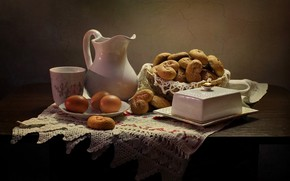 Picture table, eggs, Cup, pitcher, still life, saucer, cakes, tablecloth