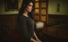 Picture room, model, interior, makeup, dress, brunette, hairstyle, Przemyslaw Chola, Kinga Bala