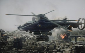 Picture helicopter, ruins, Military helicopter