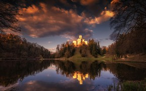 Picture forest, the sky, water, clouds, trees, sunset, lake, reflection, castle, the evening, hill, Croatia, paths, …