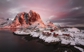 Picture winter, light, snow, mountains, rocks, home, Norway, the village, the fjord, The Lofoten Islands