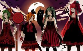 Picture the evening, anime, art, Vocaloid, Vocaloid, Halloween