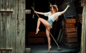Picture girl, joy, shorts, witch, broom, Witchcraft, EIKONAS