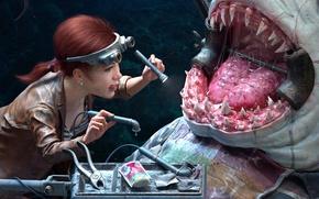 Wallpaper teeth, dentist, art, monster