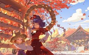 Picture autumn, Park, plate, hat, rope, Japan, ladder, temple, broom, falling leaves, touhou, art, Aya Shameimaru, …