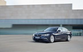 Picture movement, the building, BMW, sedan, facade, xDrive, 530d, Luxury Line, 5, dark blue, four-door, 2017, …