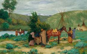 Picture Montana, Joseph Henry Sharp, Little Big Horn, Setting up Camp