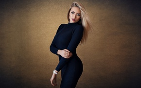 Picture sexy, background, portrait, makeup, figure, dress, hairstyle, blonde, posing, in black, Lisa, Dmitry Sn