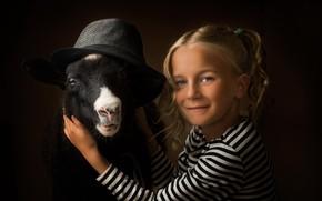Wallpaper goat, girl, background, hat