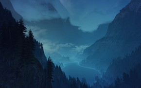 Wallpaper forest, mountains, night, fog, the Witcher 3 wild hunt