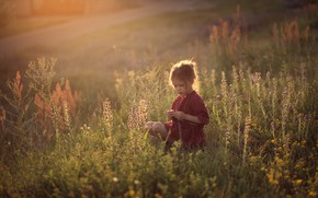 Picture field, grass, childhood, girl