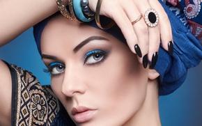 Picture girl, decoration, eyelashes, style, hand, makeup, ring, bracelets, manicure, Alisa Ustyuzhanina