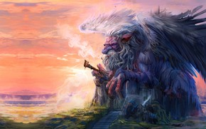 Picture fantasy, art, illustration, God of Knowledge, Trung Tin Shinji