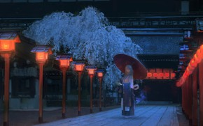 Picture girl, night, Japan, Sakura, track, Japanese clothing, the red lanterns, wooden house, under the umbrella