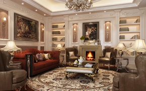 Picture sofa, Villa, interior, chairs, chandelier, pictures, luxury, living room