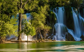Picture trees, river, waterfall, Bosnia and Herzegovina, Bosnia and Herzegovina, Kravice Falls, Trebizat river
